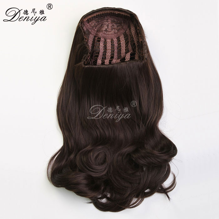 Hot Sale Natural Long Synthetic 3/4 Wig Half Wig For Woman
