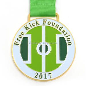 Wholesale custom your own medal no minimum order with ribbon gold running award medal