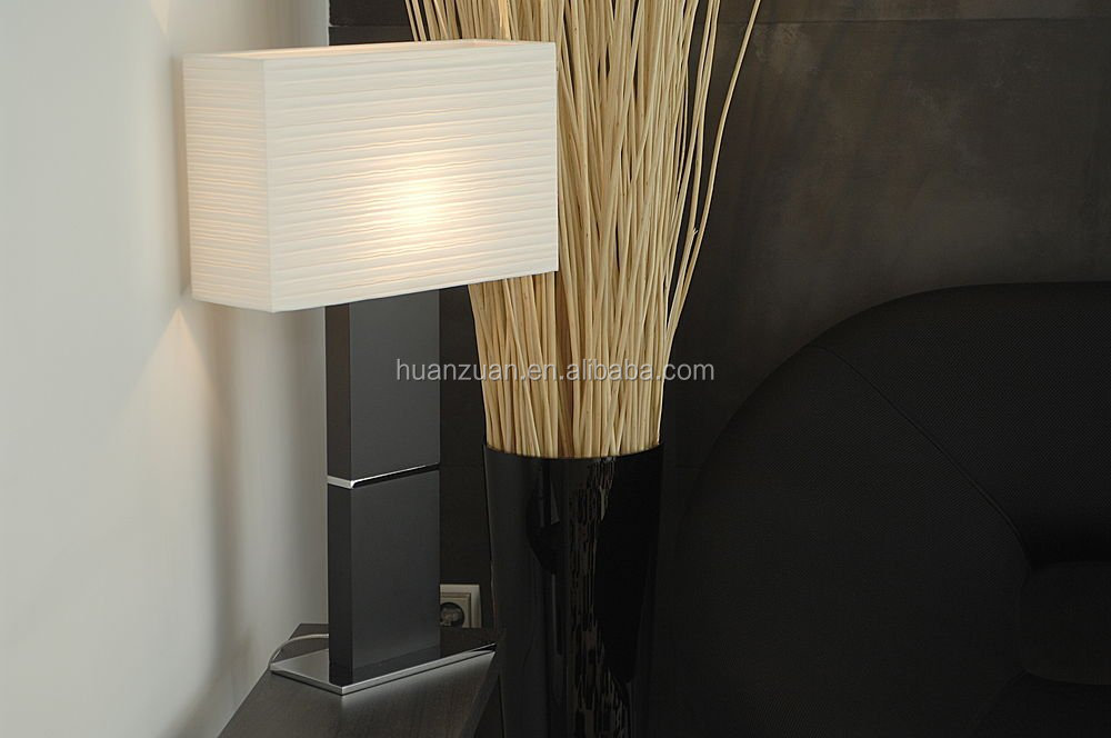 luxury modern rectangle white fabric nature wood trim post table lamp ,living room hotel light