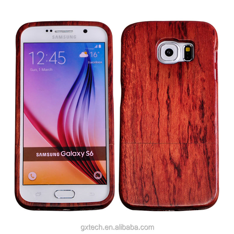 Free Simple Mobile Phone Case / Shell for Samsung S6 ,Mobile Phone Accessories , Walnut + Rose Case