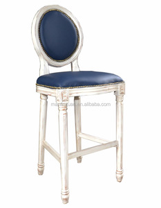 Ocean blue leather white wooden carving frame bar stool XYN202