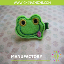 high quality cute frog head with big tongue hair barrette girl hair grips with high density embroidery