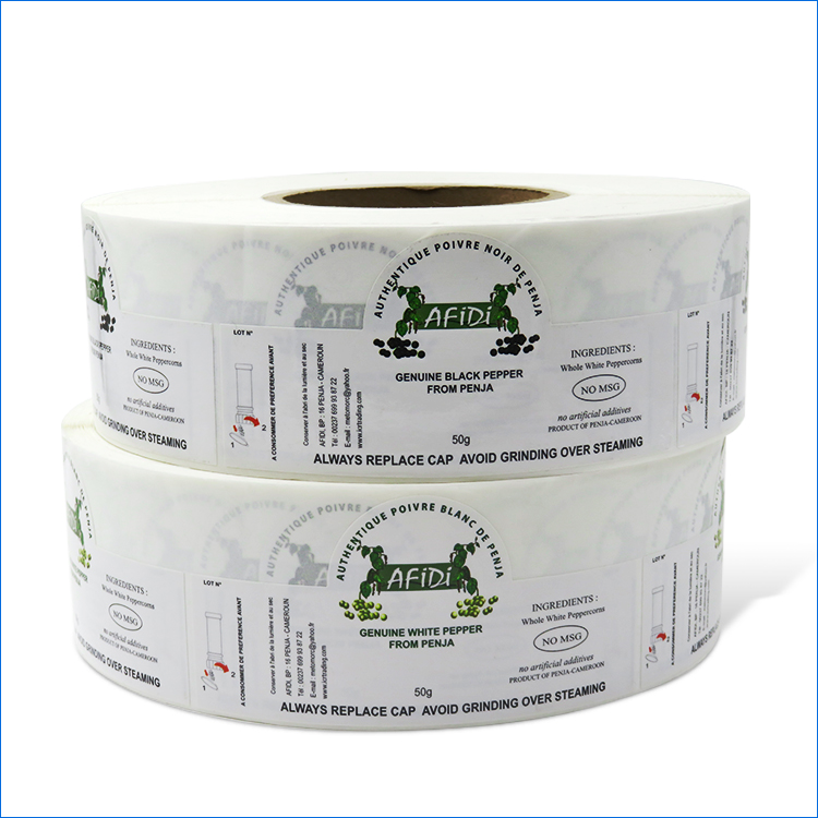 Custom print spice product adhesive labels on roll