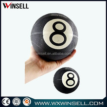 5 inch black mini basketball with white 8
