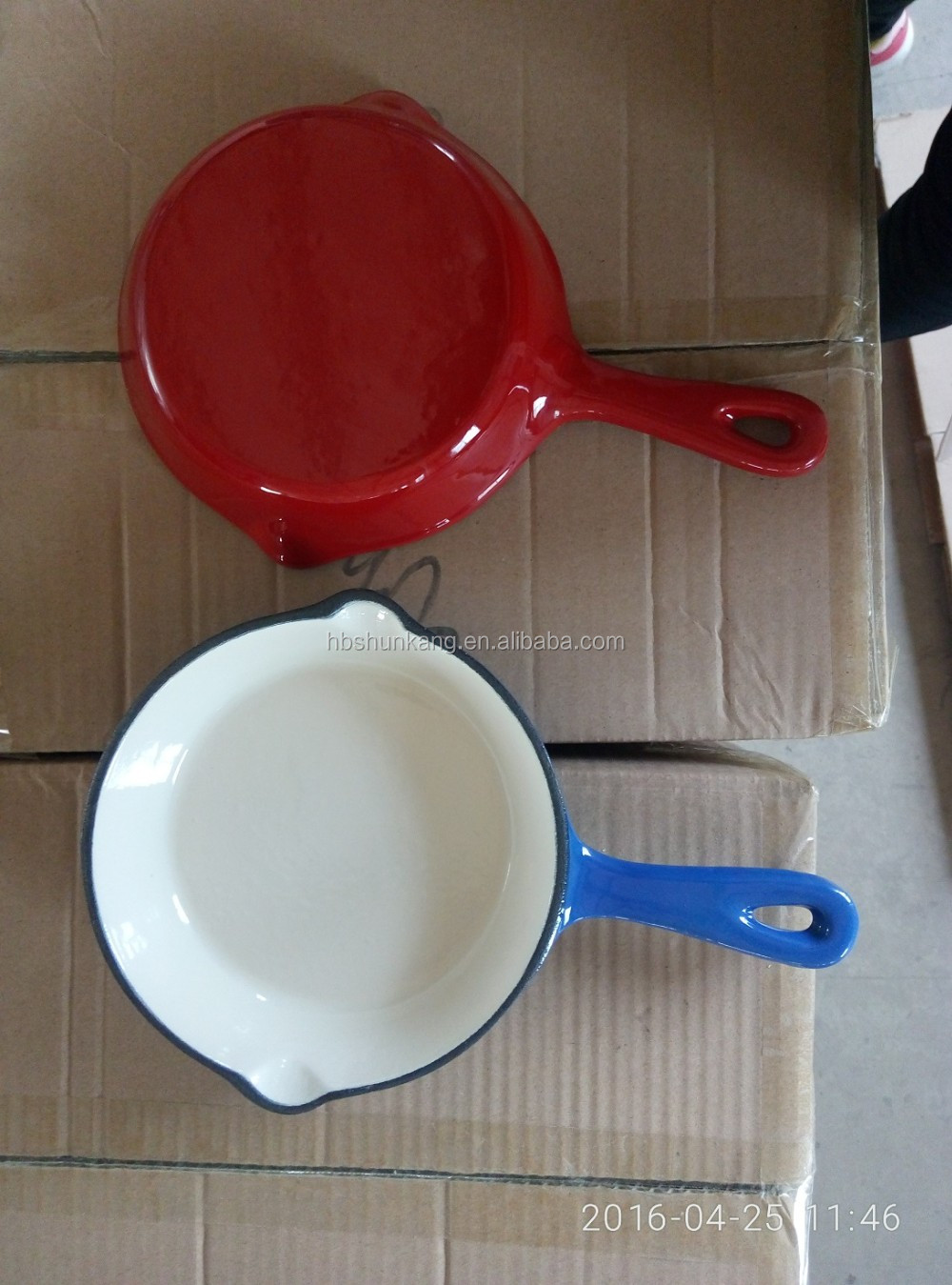 high mirror enamel fry pan