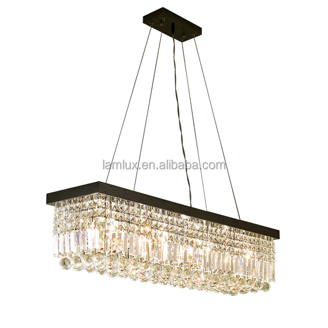 L40&quot; x W10&quot; rectangle modern crystal chandelier light raindrop led pendant lighting dining room kitchen island hanging <strong>lamps</strong>