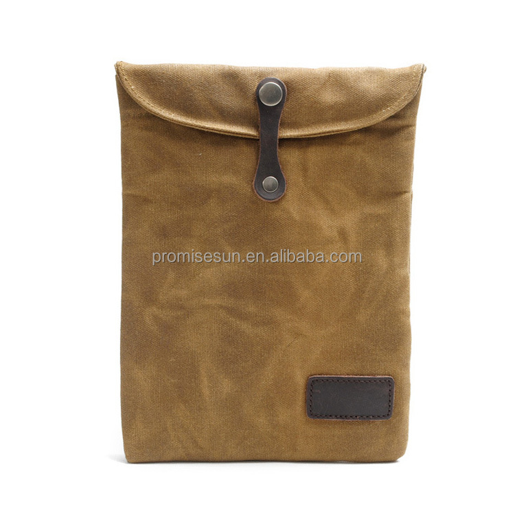 New waxy cloth inner bile tablet retro waxy cloth with leather protective custom laptop sleeve case