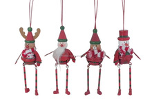 Metal crafts Christmas deer /santa claus /snowman Hanging decoration Xmas small metal hanging ornaments home decorative gifts
