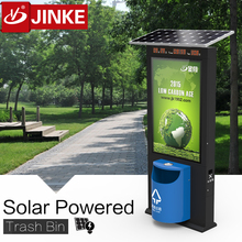 JINKE Factory Price Solar Powered Tall Trash Can With LED Lightbox Advertisement For Houston