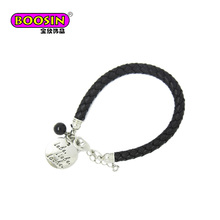 Fancy Custom logo tag charm mens leather cuff bracelet jewelry making supplies