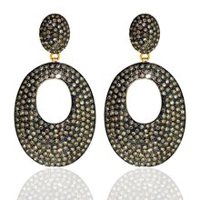 14k solid gold diamond pave earrings.diamond dangle earrings gold jewelry women wedding collection wholesale jewelry