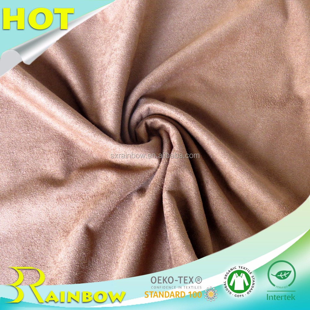 Weft Knitting Solid Polyester Spandex Single Jersey Micro Suede Fabric for Women