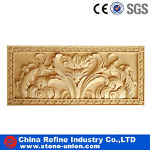 Elegant yellow beige sandstone flowers carvings wall relief sculpture