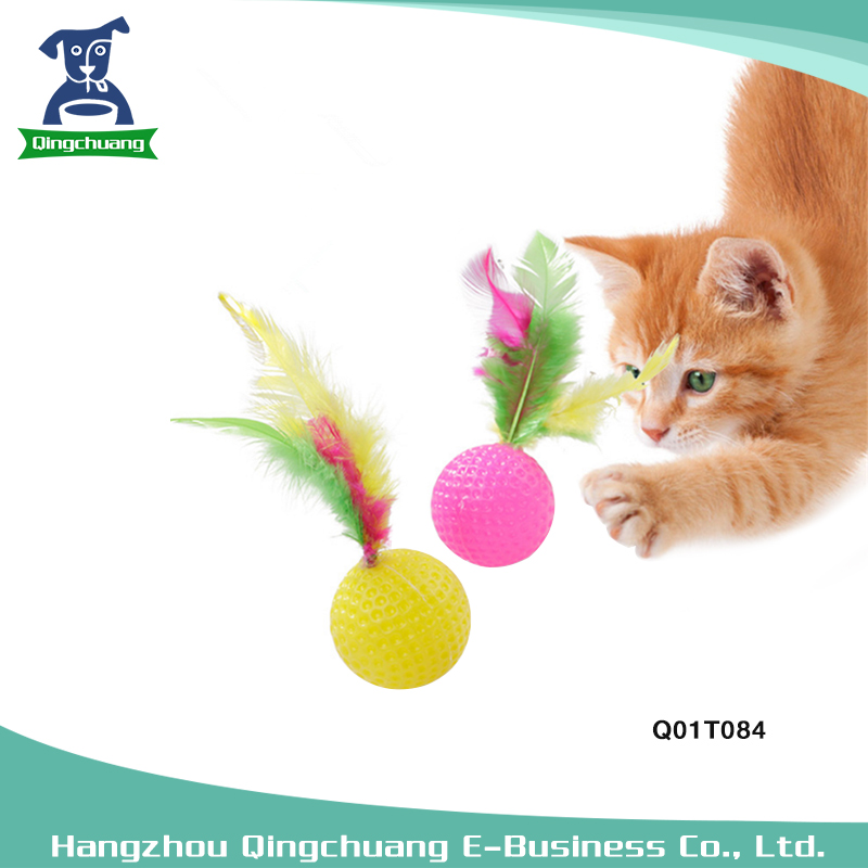 Random Color Pet Cat Golf Ball Toy With Feather