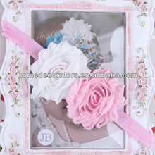 2014 cute baby lace flower Headband two flowers pink with white headband