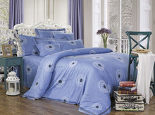 dark blue dandelion print 4pcs set 100% cotton satin bedsheets