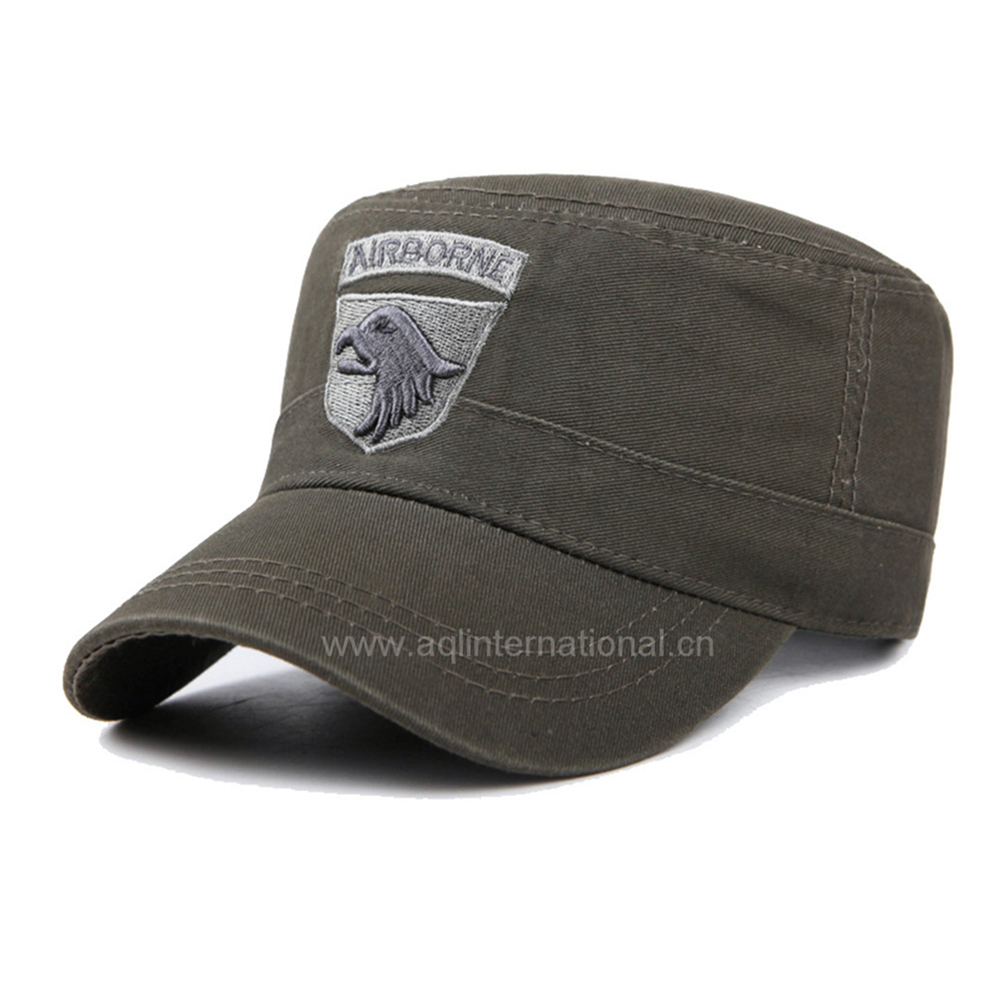 Hot selling customized premium quality army cap embroidery fashion flat top military caps hats