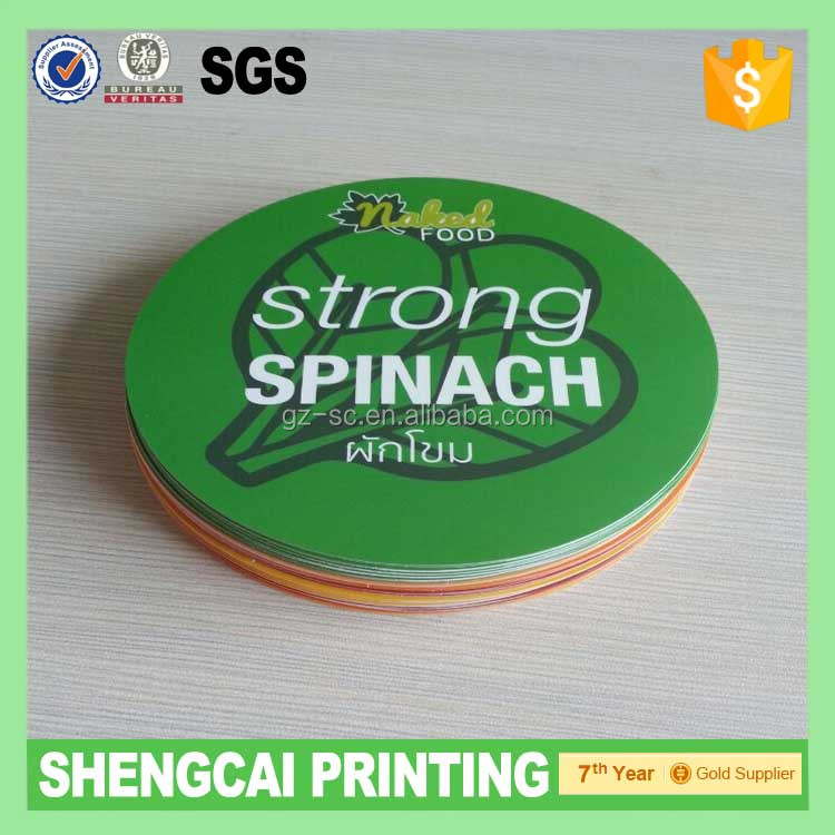 Green color printed round stickers
