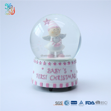 Resin craft cute musical christmas angel snow globe for decoration