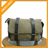 trendy dslr canvas camera bag with leather trim