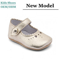 Factory wholesale low price round flat leather shoes babies first walking shoes