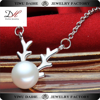 Daihe Fashion Pearl Antlers Necklace Design, Custom Animals Necklace