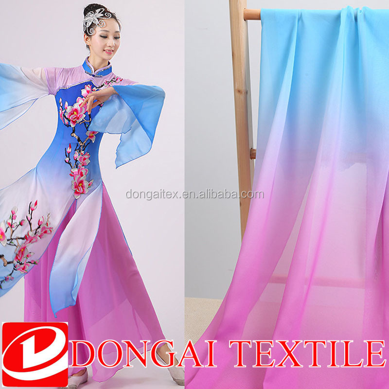 high quality polyester gradient color chiffon fabric for fashion dress/ombre chiffon fabric