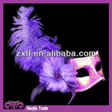 Hotsale Style Purple Color Feather Camouglage Face Mask For Party