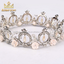 Custom Adult Pageant Crown Tiaras with Ring and Flower