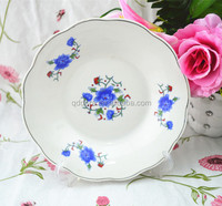 wholesale fine porcelain edgefold flat plate with red flowers,bulk ceramic round dinner plates