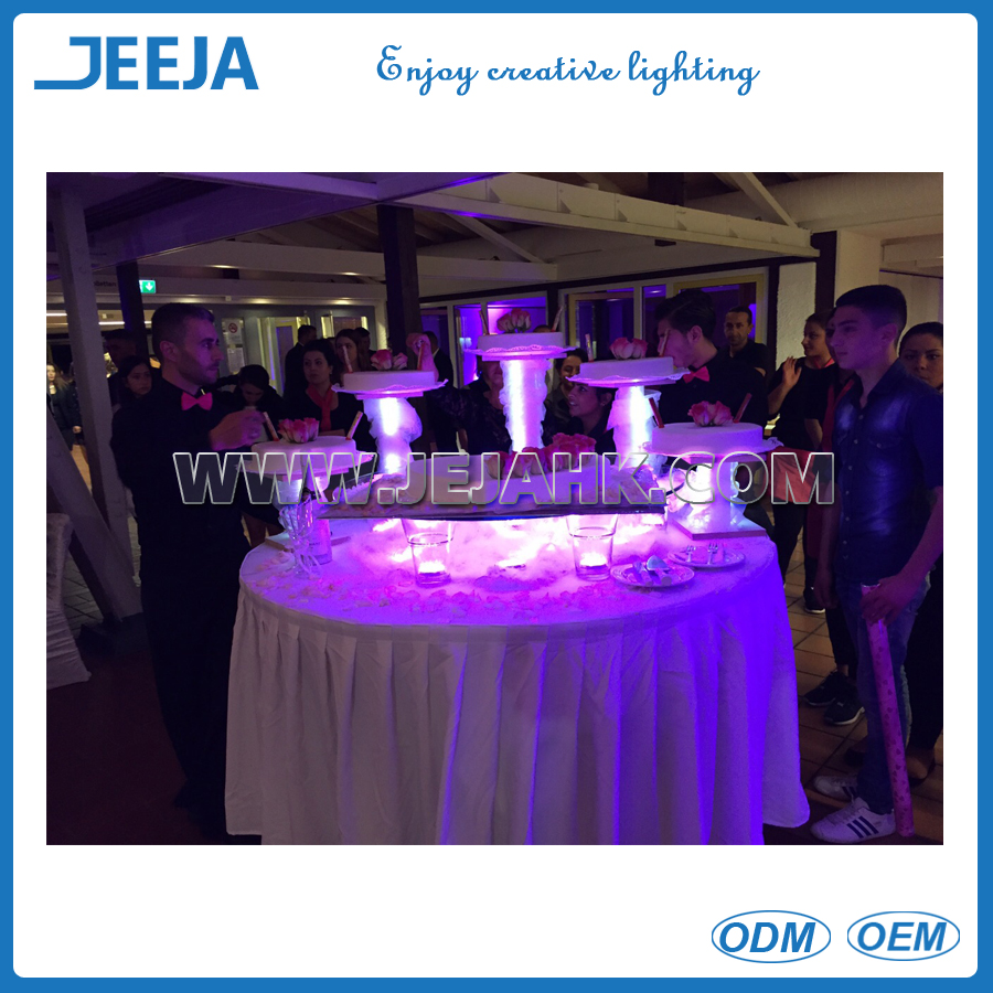 LED light crystal wedding cake stand for wedding & party decoration