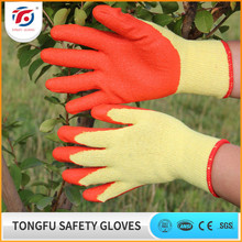 10G knitted cotton glover liner palm red rubber coated western safety work gloves en388
