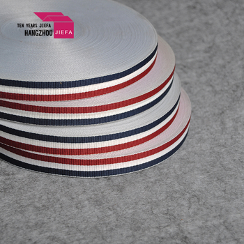 polyester satin ribbon printed with white logo for luggage sales in alibaba