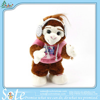 Russian songs stuffed toys lovely dancing and singing monkey customized color gift box is available