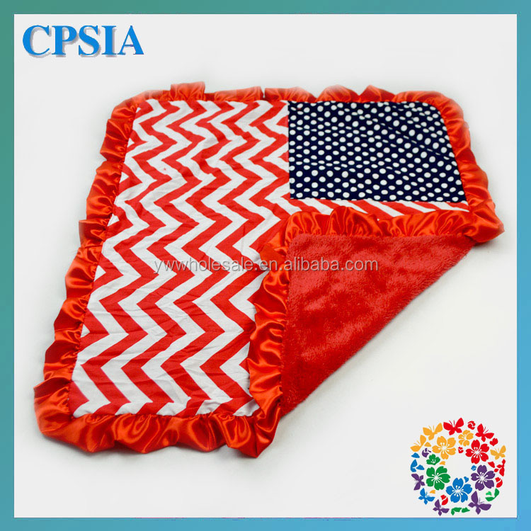 Newest Cheap patterned fleece blanket Red Chevron with Navy Stars satin ruffle stroller blanket baby blankets
