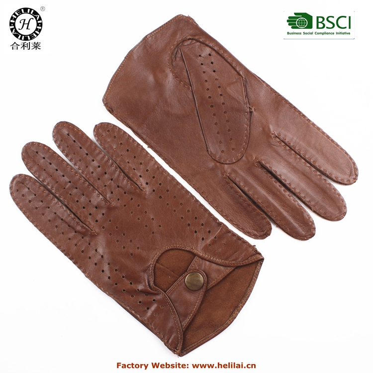 Factory Wholesales 2015 Brown Men's Handmade Driving Leather gloves
