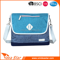 Leisure two tone ripstop polyester hanging shoulder bag for students