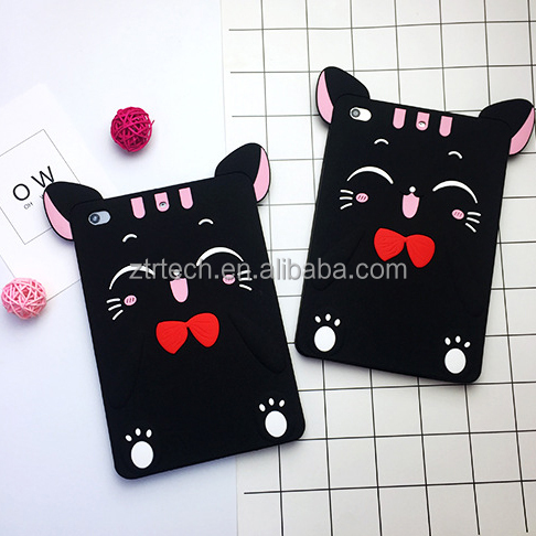 Hot 3D Lucky Moon Cat Tablet Case For iPad air 2017 soft silicone phone case for ipad 5 6