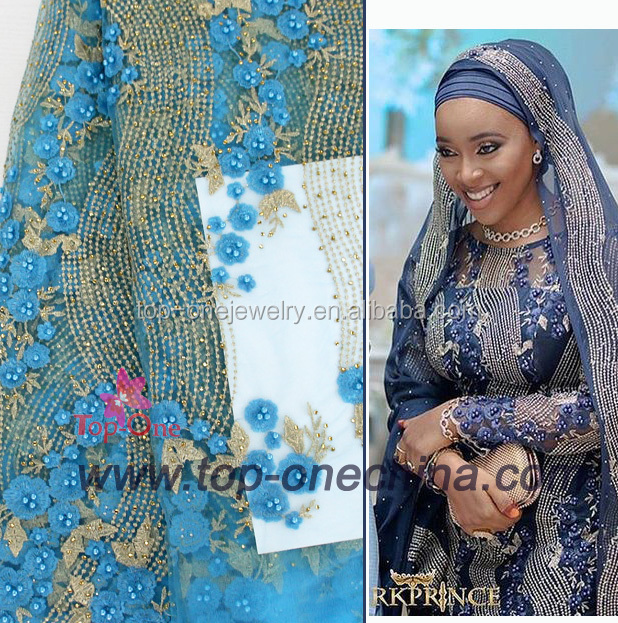 2017 Unique Design Handmade 3D Flower French Lace Fabrics With Peal Rhinestone Nigeria Embroidery Lace