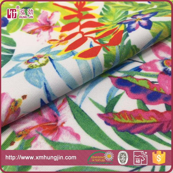 polyester spandex weft knit floral digital printing jersey swimwear Fabric
