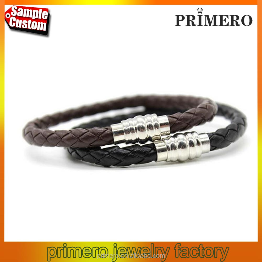 Custom Men Braided Leather Bracelet With Stainless Steel Magnetic Clasp Bangles