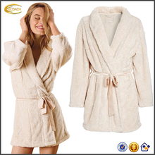 Ecoach Wholesale OEM Women Pretty Long Sleeves Plush Waist Tie Thicken Fluffy Comfortable Short Cotton Bath Robes