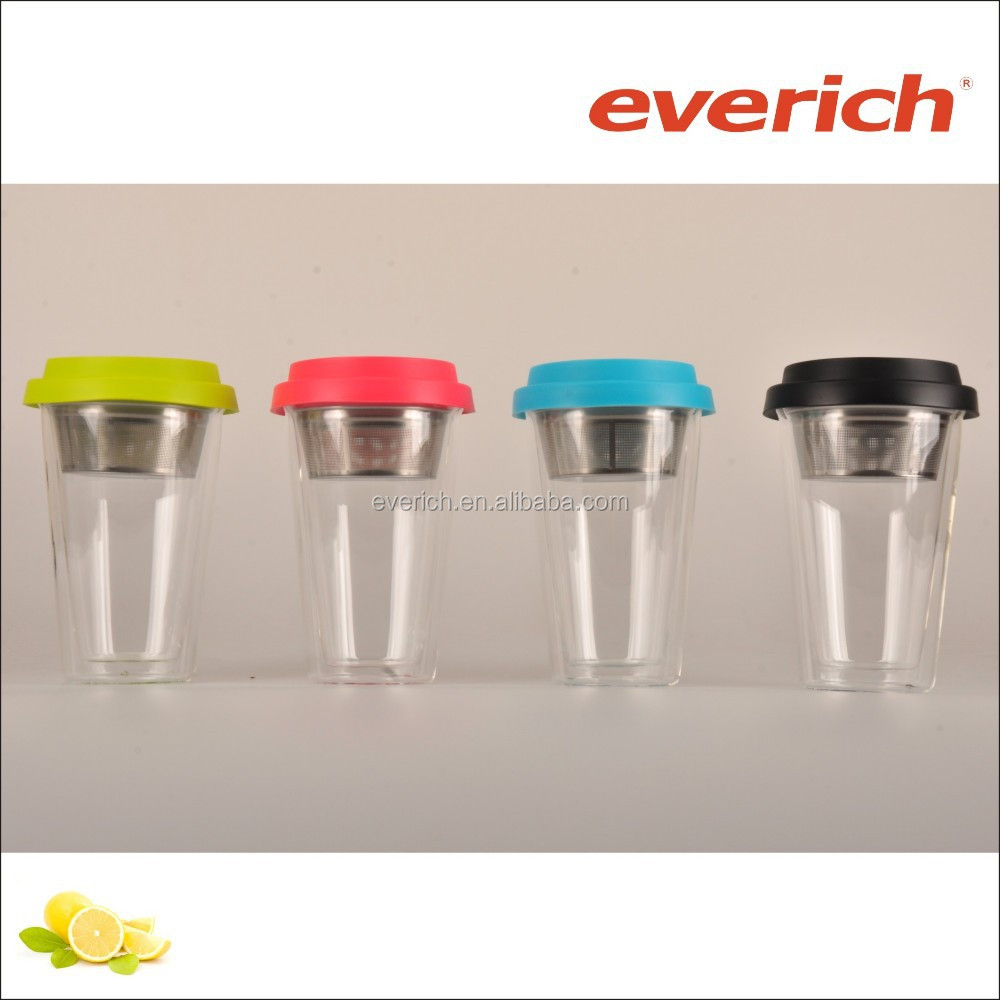 300ml high-grade borosilicate glass wholesale tea cups with stainless steel infuser