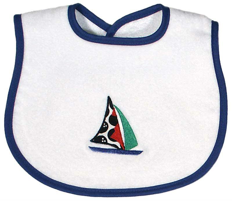 Appliqued Sailboat Bib
