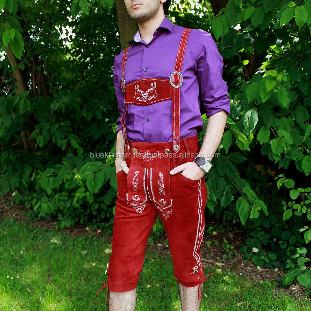 Bavarian Men's Leather Pants Red