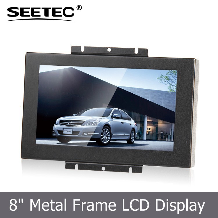 "professional HDMI VGA inputs 4-Wire Resistive wide viewing angles open frame 8"" touch screen for public information display"