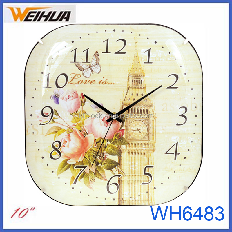 Frameless fashion square wall clock