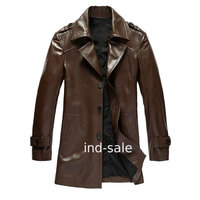 Long Custom Made All Size Genuine Blazer Leather Jacket Pea Coat Brown