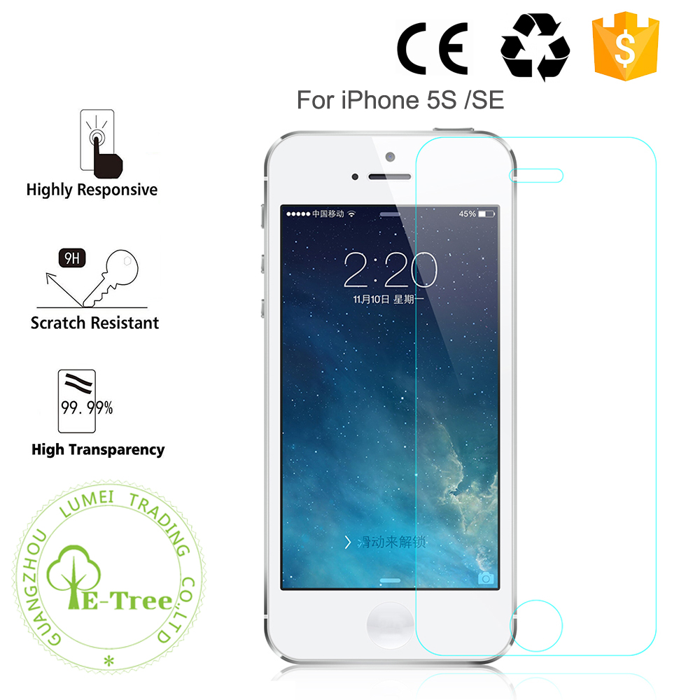 9H Anti Scratch Mobile Phone Tempered Glass For iPhone 5S SE Screen Protector
