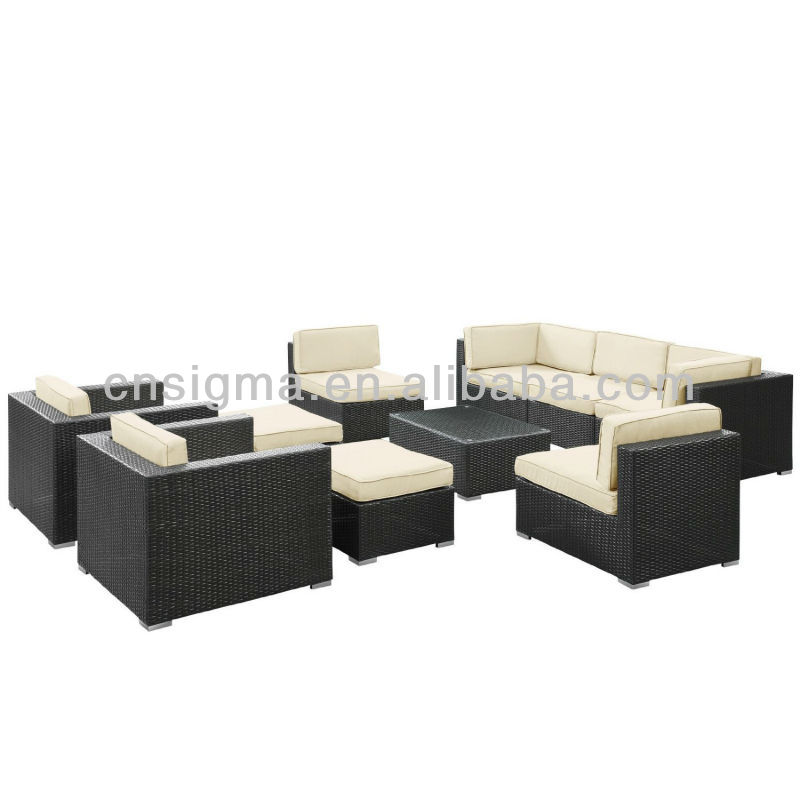 LexMod Avia Outdoor Wicker Patio 10-Piece Sectional Sofa Set in Espresso with White Cushions